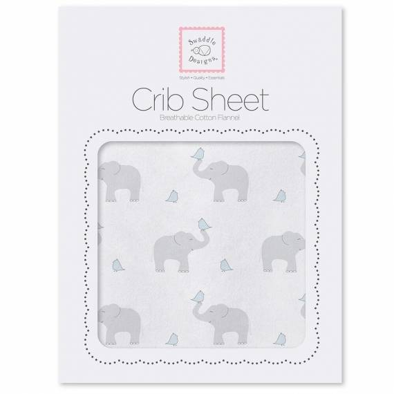 Простынь детская SwaddleDesigns Fitted Crib Sheet PB Elephant & Chickie
