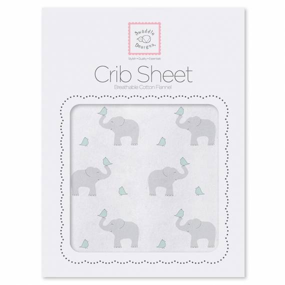 Простынь детская SwaddleDesigns Fitted Crib Sheet SC Elephant & Chickie