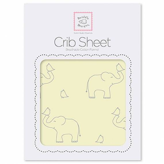Простынь детская SwaddleDesigns Fitted Crib Sheet Y Sterling Deco Elephants
