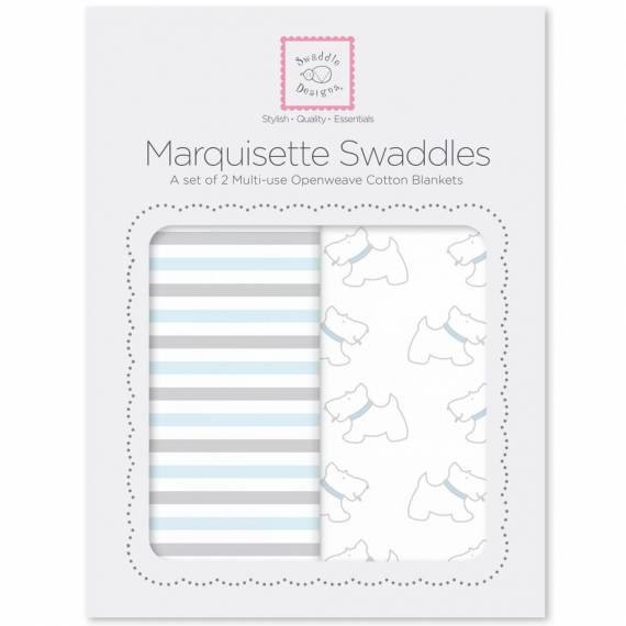 Наборы пеленок SwaddleDesigns Marquisette 2-Pack Little Doggie Simple Stripes
