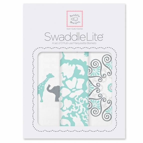 Набор пеленок SwaddleDesigns SwaddleLite SC Elephant/Chickies Aqua
