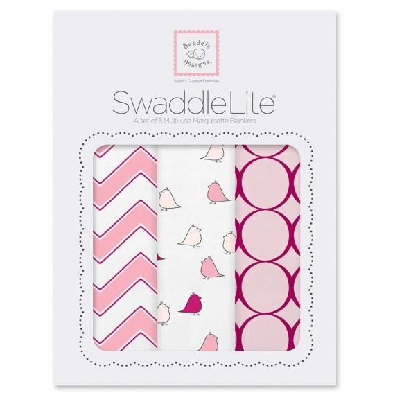 Набор пеленок SwaddleDesigns SwaddleLite chic chevron lite pink
