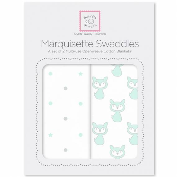 Наборы пеленок SwaddleDesigns Marquisette 2-Pack Little Fox Dottie Star