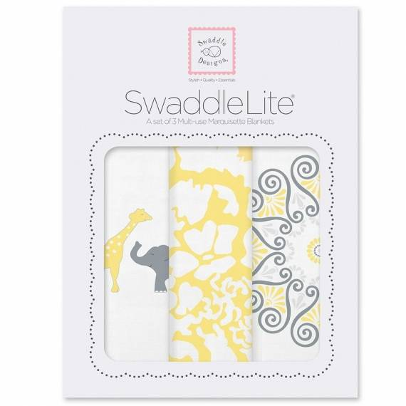 Набор пеленок SwaddleDesigns SwaddleLite SC Elephant/Chickies Yellow