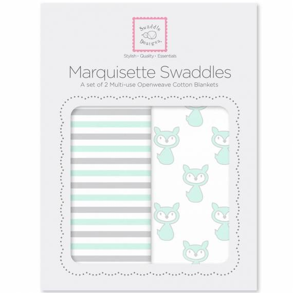 Наборы пеленок SwaddleDesigns  Marquisette 2-Pack Little Fox Simple Stripes