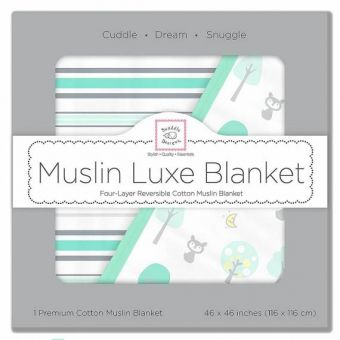 Одеяло муслиновое SwaddleDesigns Luxe Muslin Pale Blue Chevron