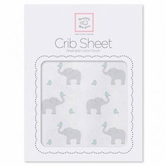 купить Простынь детская SwaddleDesigns Fitted Crib Sheet SC Elephant & Chickie