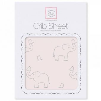 купить в питере Простынь детская SwaddleDesigns Fitted Crib Sheet Pink Sterling Deco Elephants
